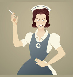 beautiful and smiling retro nurse holding a vector image