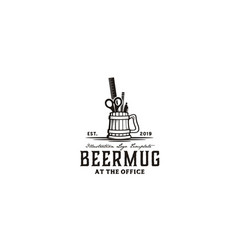 beer mug pen office tools vintage logo vector image