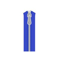 Blue clothes zip fastener with gray metal teeth vector