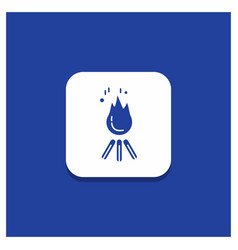 blue round button for fire flame bonfire camping vector image