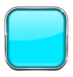 Blue square button shiny 3d icon with metal frame vector