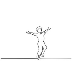 boy running with hands up vector image