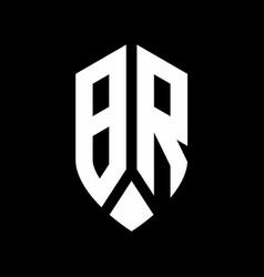 br logo monogram with emblem shield style design vector image