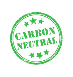 carbon-neutral green round retro style grunge seal vector image