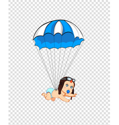 cartoon clip art with cute baby in pilot hat with vector image
