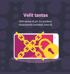 chain padlock smartphone data protection access vector image
