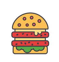 cheeseburger burger hamburger concept line vector image