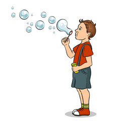 Child blowing bubbles pop art vector