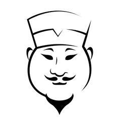 Chinaman wearing a hat vector