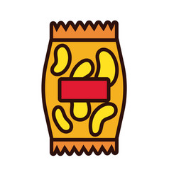 Chips snacks line and fill style vector