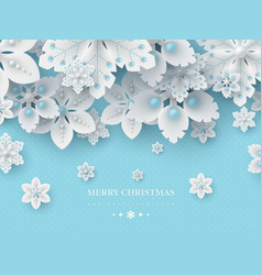 christmas background with 3d decorative snowflakes vector image
