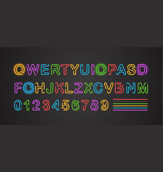 City neon alphabet collection english letters vector