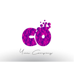 Co c o dots letter logo with purple bubbles vector