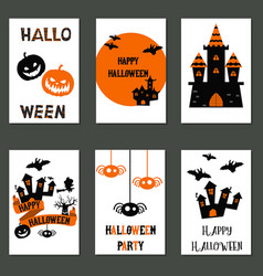 Collection of cute halloween cards collection of vector