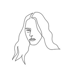 continuous line abstract portrait single line vector image