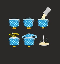 Cooking pasta icons set vector image