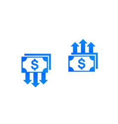 Cost reduction and growth money finance icons vector