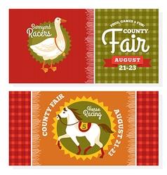 County fair vintage invitation cards vector