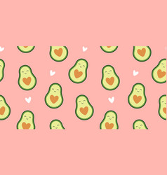 cute avocado seamless pattern on pink background vector image