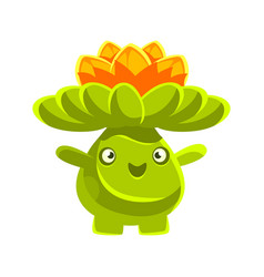 Cute smiling cactus emoji with flowers on his head vector