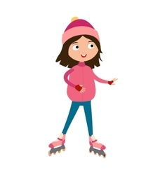 Cute young girl in roller pink skates hats and vector