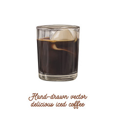 delicious tasty hand-drawn iced coffee vector image