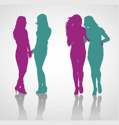 detailed silhouettes teenage girls vector image