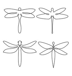 dragonfly continuous line drawing elements set vector image