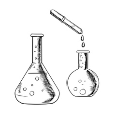 Dropper and laboratory flasks sketch vector image