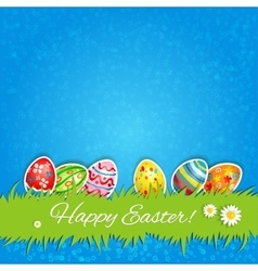Easter eggs and green grass vector image