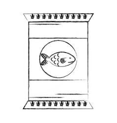 Figure delicious fish fillet bag food vector