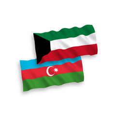 Flags azerbaijan and kuwait on a white vector