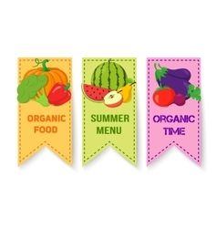 Fruits and vegetables bright badges vector
