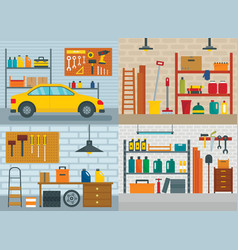 Garage interior car banner concept set flat style vector