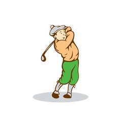 Golfer Swinging Club Cartoon vector