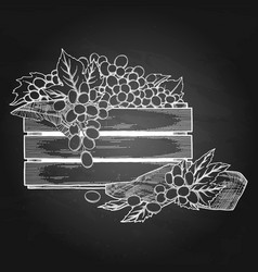 Graphic wooden box of grapes decorated with leaves vector