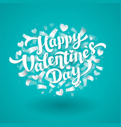 happy valentines day lettering with silver vector image