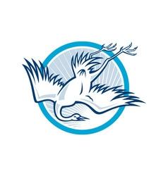 Heron Crane Diving Down Cartoon vector