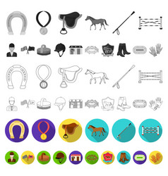 hippodrome and horse flat icons in set collection vector image