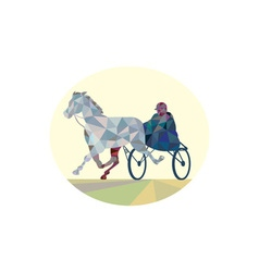 Horse and Jockey Harness Racing Low Polygon vector