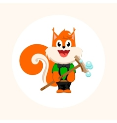 Isolated orange squirrel with mop logo vector image