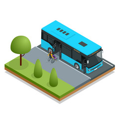 isometric blue city bus at a bus stop people get vector image
