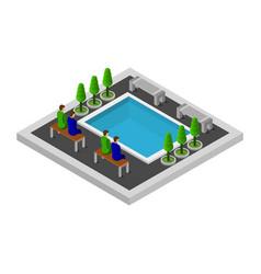 Isometric pool graphic vector