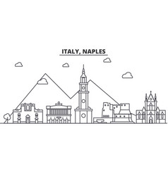Italy naples architecture line skyline vector