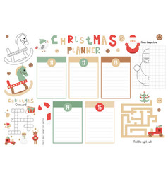 kids christmas planner template vector image