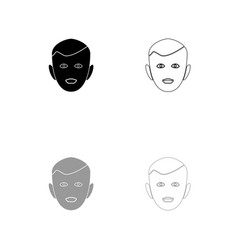 little boy face black and grey set icon vector image