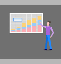 man analyzing chart with diagrams isolated vector image