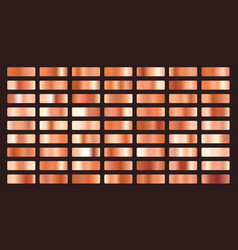metallic orange or copper gradients big set vector image