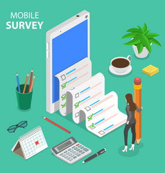 Mobile survey flat isometric concept vector