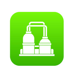 oil processing factory icon digital green vector image